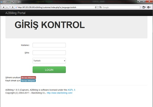 Login interface customized with Twitter Bootstrap for A2Billing 1.9.4 - Turkish