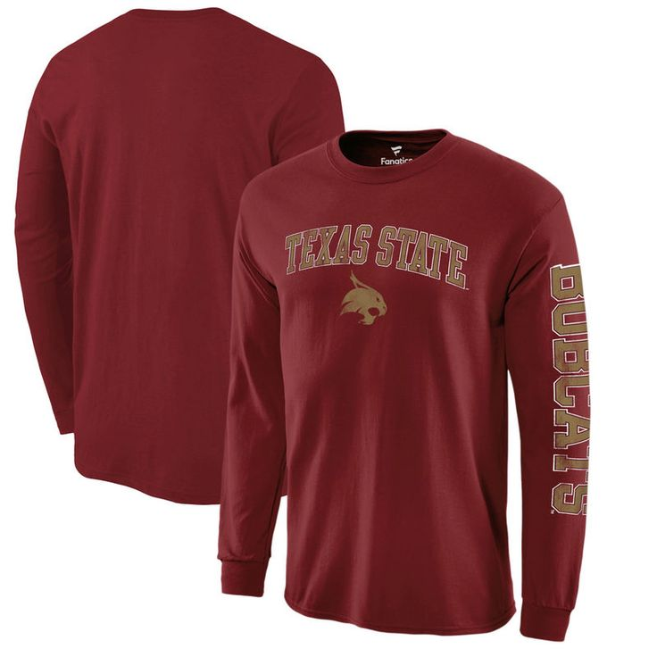 Texas State Bobcats Fanatics Branded Distressed Arch Over Logo Long Sleeve T-Shirt - Garnet