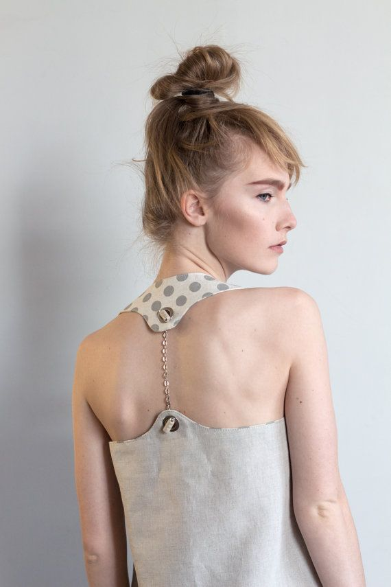 Linen tank top / Polka dot top / Open back top by ExlibrisClothing