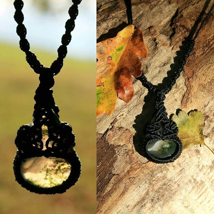 I made this beautiful necklace for my husband with a natural stone that he absolutely loves Moss Agate. To make it more suitable for him I decided to use a black polyester cord which made the piece very elegant! He absolutely loved it _ I would love to hear your thoughts!
