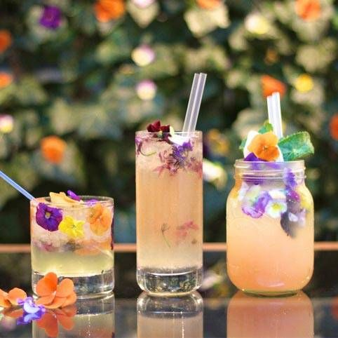 Drinks with edible flowers. I once had lavender lemonade at this restaurant, and I really want to know how to make it!