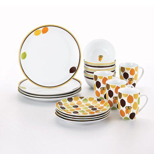 Rachael Ray Dinnerware Little Hoot 16-Piece Dinnerware Set Rachael Ray //  sc 1 st  Pinterest & 22 best Dishes images on Pinterest | Dinnerware sets Dish sets and ...
