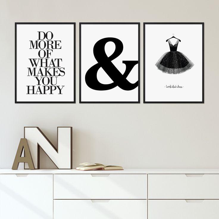 3er Set Poster-Bilderrahmen 40x50 cm Modern Schwarz aus MDF mit Glasscheibe / Posterrahmen / MDF-Wechselrahmen