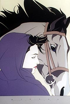 Patrick Nagel art - woman in a purple cape with a horse                                                                                                                                                                                 Mais