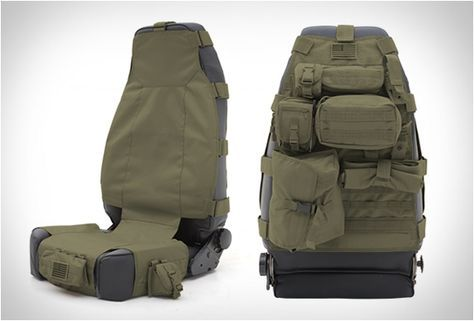 TACTICAL SEAT COVERS | BY SMITTYBILT...These cool tactical seat cover storage systems by Smittybilt are great for carrying and organizing small items in your expedition vehicle. The G.E.A.R. Seat Covers come fully-equipped with plenty of pockets and storage compartments to help you store personal items and save space, while also providing a comfortable and durable seat cover solution. For matt hahaha