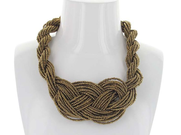 Braided Knot Necklace - Strands of beads are Braided and Knotted to create a beautiful statement piece that will put the finishing touch on any summer outfit!  Try these tone on tone, or with a colour on the opposite end of the spectrum! Available in Black, Taupe, Ivory, Gold and Pewter.