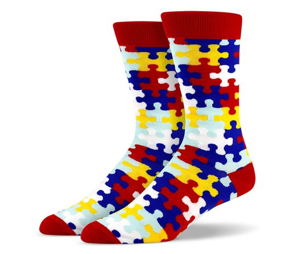 Red Blue White Yellow Puzzle Socks
