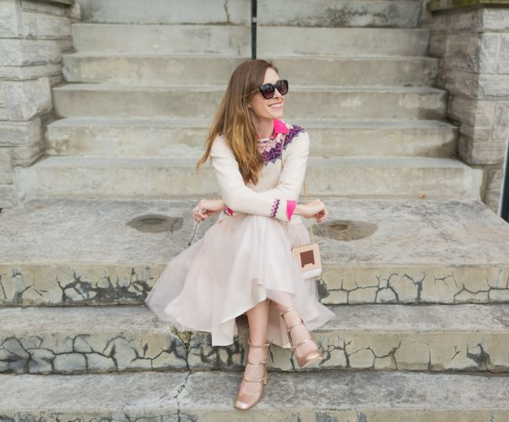 A Pink Tulle Skirt Holiday Outfit on Art in the Find. tulle, tulle-skirt-outfit