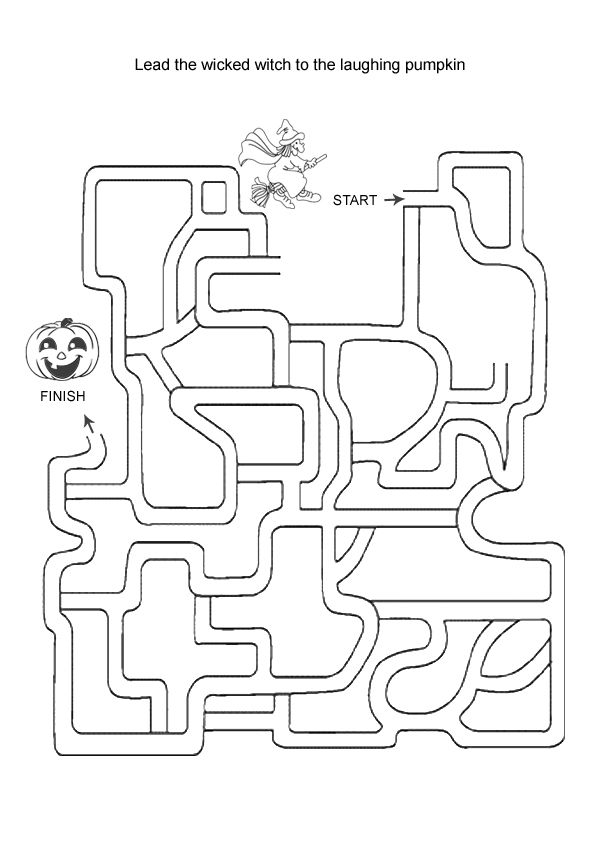 Free Online Printable Kids Games - Wicked Witch Maze