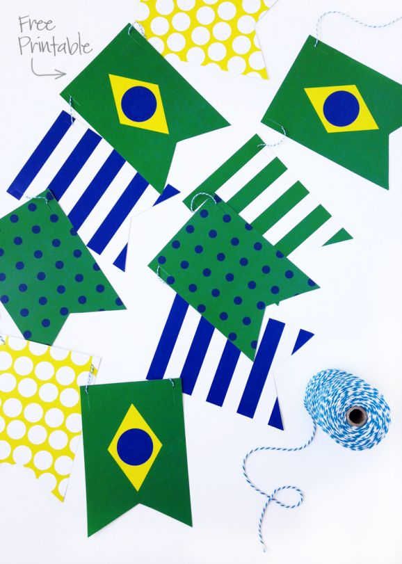 Free Printable Brazil Banner via @PagingSupermom -- would be great party decor for a Brazil Missionary Farewell or Missionary Homecoming or for a #WorldCup Soccer viewing party