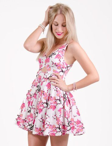 Rosebank dress from www.belleroad.co.nz Cherry blossom aline dress with diamond cutout - perfect for weddings, 21st, or a bit of wow factor on a date night