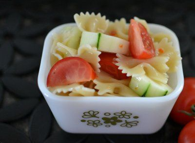 Hot Eats and Cool Reads: Cucumber and Tomato Bowtie Pasta Salad Recipe