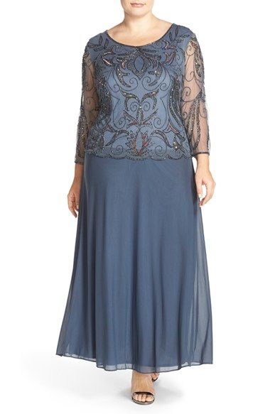 Plus Size Womens Pisarro Nights Embellished Mock Two-Piece Gown Size 24W - Grey $238.00 AT vintagedancer.com