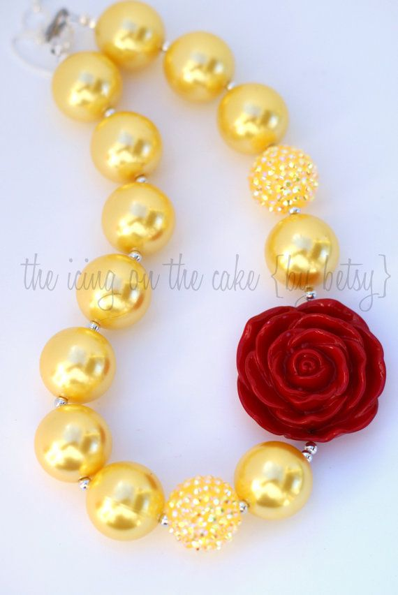 Belle Princess Chunky Bead Necklace Princess by icingbybetsy, $23.50