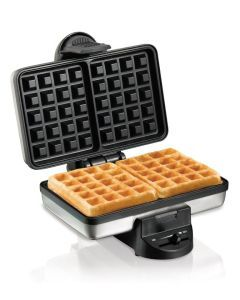 Waffle Maker from Hamilton Beach  Time to get rid of the guessing games. This indicator comes with indicator lights so that you only open the lid when its time to do so. Each individual LED lights up when each process is complete like preheating, pour in the batter, etc. You'll be able to save a lot of counter space through this vertically compact unit.