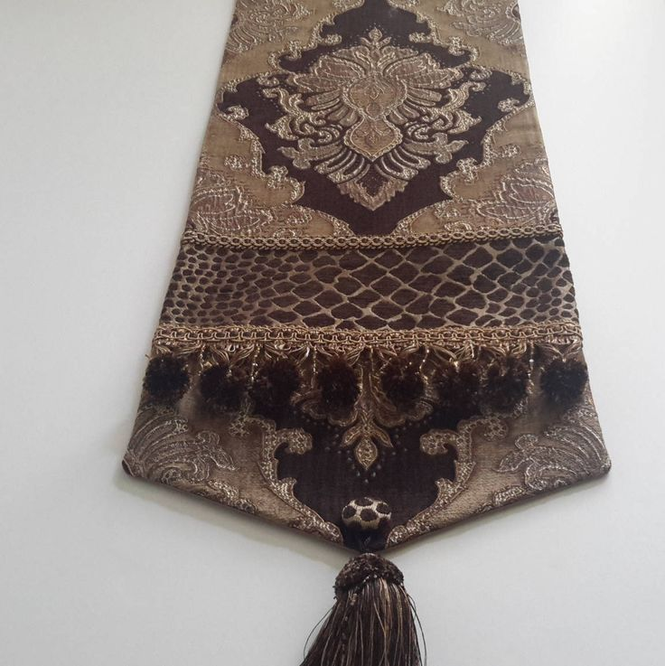 Brown, Gold Damask Chenille Table Runner, Animal Print, Medallion Design - Size 84 in x 12.5 in by CVDesigns on Etsy