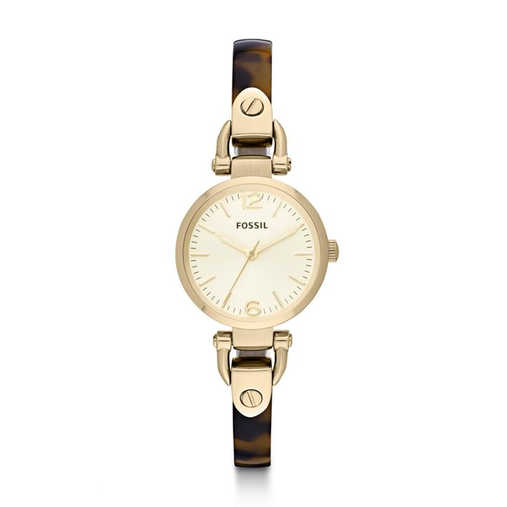Georgia Three Hand Stainless Steel and Resin Watch – Tort ES3336 | FOSSIL®