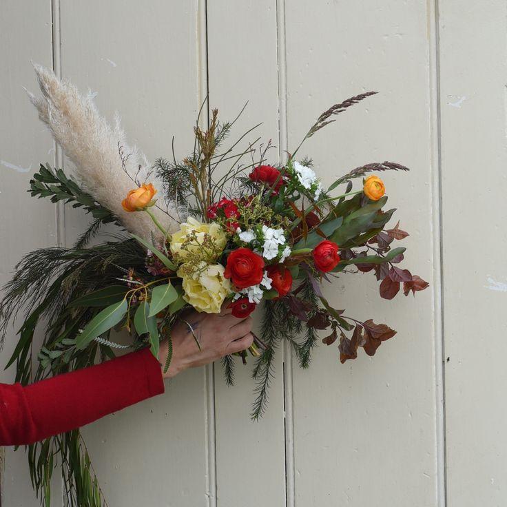 September flowers, spring bouquet, tulips, ranunculus, grasses, pampas grass, dianthus, sweet william