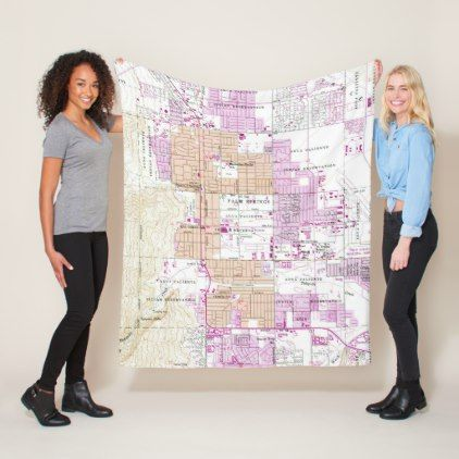 Vintage Map of Palm Springs California (1957) Fleece Blanket - home gifts ideas decor special unique custom individual customized individualized