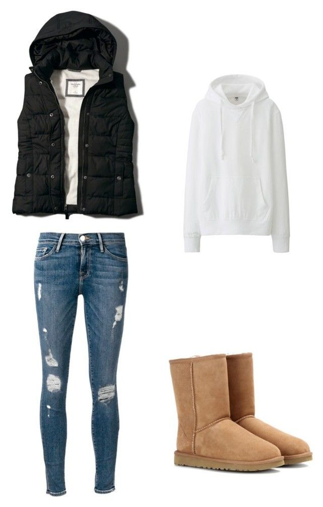 """Fall puffer vest outfit with hoodie and uggs"" by ngabby10 on Polyvore"