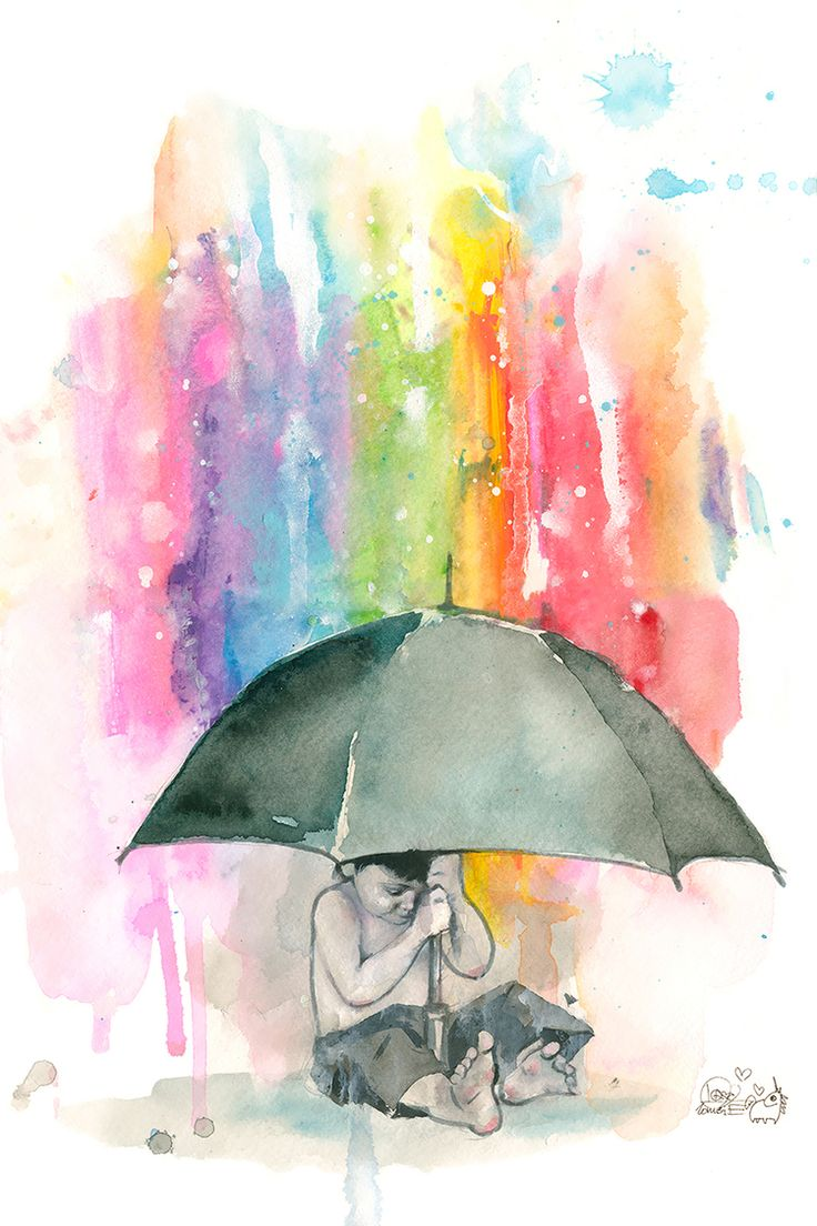 Color art printing anchorage - Umbrella Boy Fine Art Print By Lora Zombie Authentic Giclee Print Artwork On Paper Or Canvas