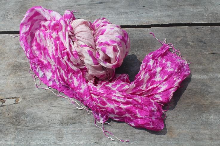 hand printed solf silk scarf