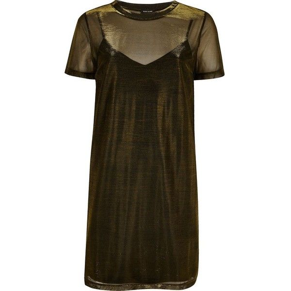 River Island Gold metallic mesh T-shirt dress ($25) ❤ liked on Polyvore featuring dresses, gold, t-shirt dresses, women, cami slip dress, t shirt dress, brown cami, brown dress and yellow cami