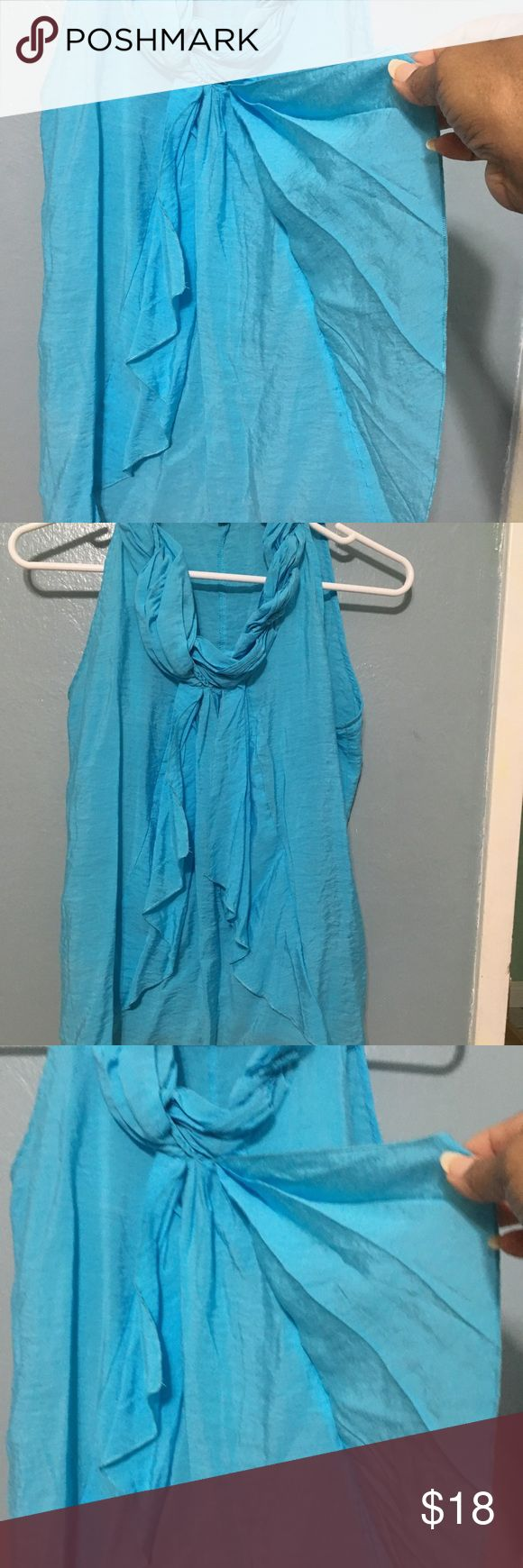 Milano blouse Milano top, light blue color, it has the braided neck and flights in front, perfect if you have small bust, M size, rayon fabric and nylon Milano Tops Tank Tops