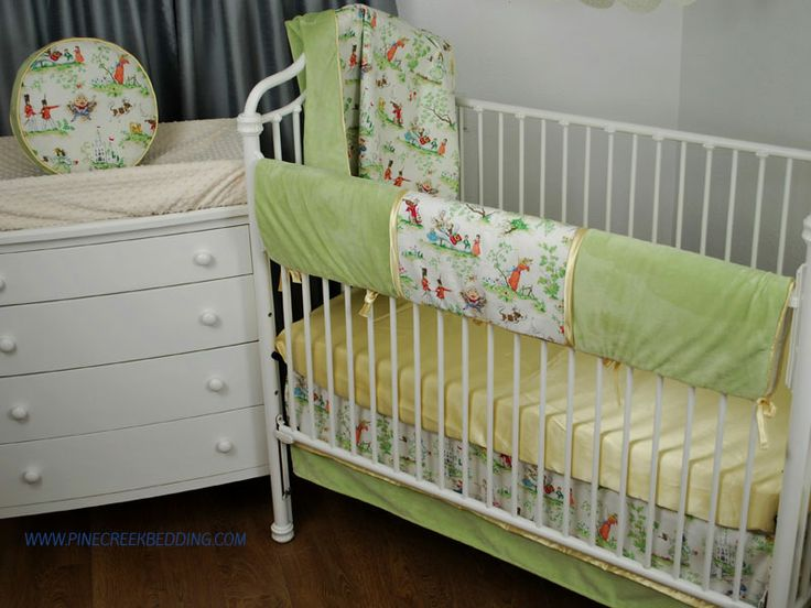 Green and yellow crib bedding with a mother goose print for Yellow nursery fabric