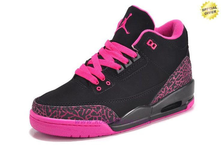 Discount Shoes Online Black/Pink AIR JORDAN 3 RETRO 318376-073