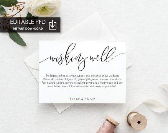 Printable Wedding Wishing Well Card Wedding Details Card Template Modern Minimalist Wedding Invitation Card Lucas Script Wedding Website Card Wedding Details Card Minimalist Wedding Invitations