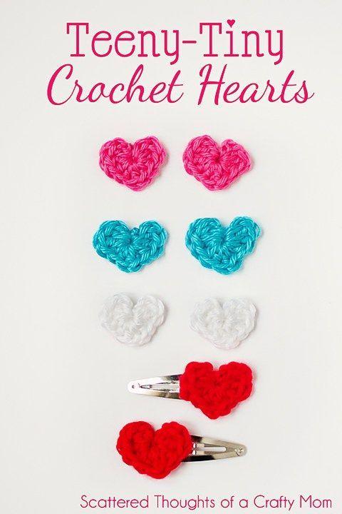 Make these super easy Teeny Tiny crochet hearts!