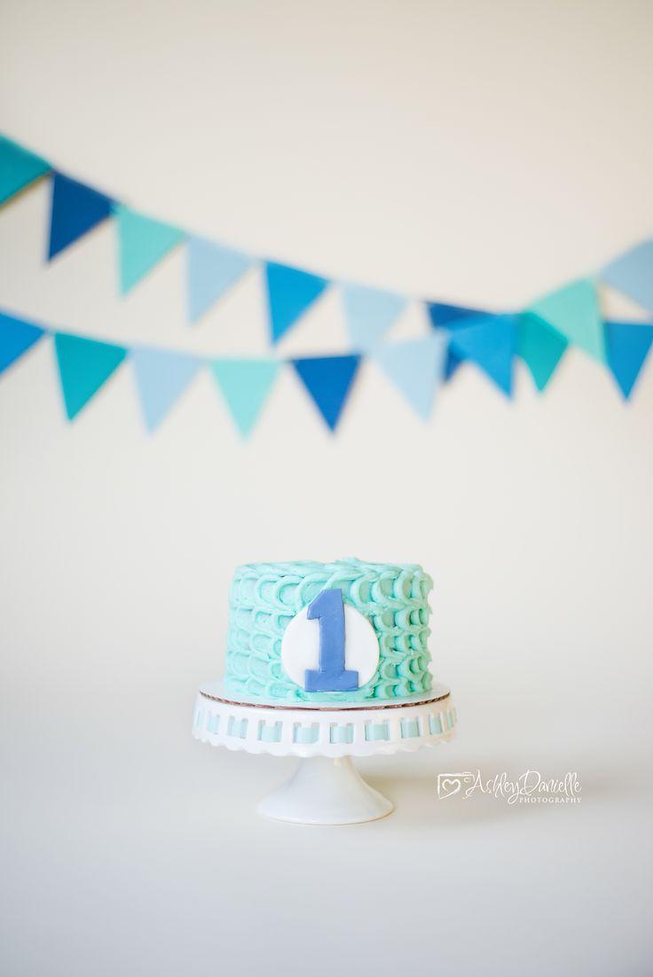 Boy cake smash, blue cake smash, blue and white cake smash, simple cake smash, blue and teal cake smash, savage bone backdrop, Ashley Danielle Photography: Cake Smash | Maple Valley, WA