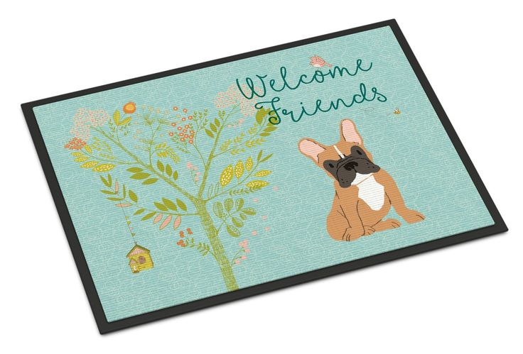Welcome Friends Fawn French Bulldog Indoor or Outdoor Mat 24x36 BB7633JMAT