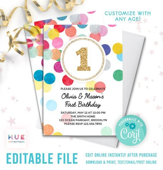 Twins 1st Birthday Invitation Instant Download Boy Or Girl Gender Neutral Sibling First Birthday Party Invitation Rainbow Confetti Gold 1st Birthday Invitations Birthday Invitations Invitations