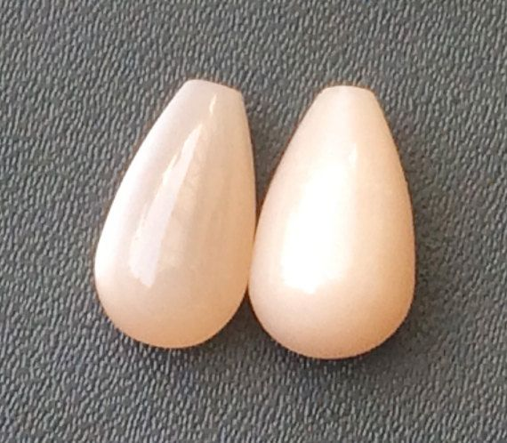 Peach Moonstone Plain Drops Matched Pair Half Top by gemsforjewels