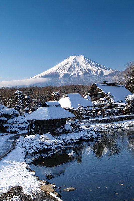 Snowscape Mount Fuji, Lake Yamanaka, Yamanashi, Japan