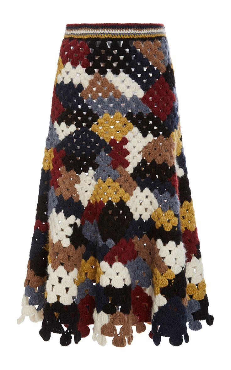 Chunky Alpaca Patchwork Crochet Skirt by ROSETTA GETTY for Preorder on Moda Operandi