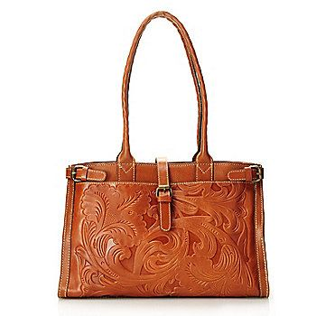 "Patricia Nash ""Monte"" Leather Buckle Detailed Satchel"