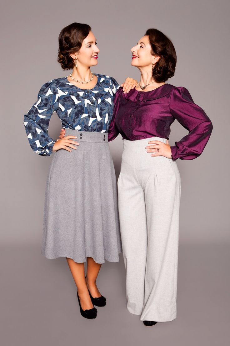 1940s inspired blouses with large peter pan collar, half circle skirt and trousers by MARLENES TOECHTER