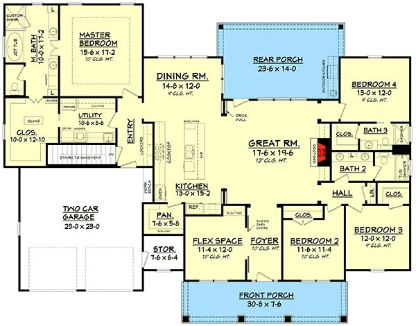 4 Beds and a Rocking Chair Porch - 51702HZ | 1st Floor Master Suite, Butler Walk-in Pantry, CAD Available, Country, Craftsman, Den-Office-Library-Study, PDF, Photo Gallery, Split Bedrooms, Traditional | Architectural Designs