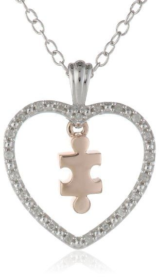 """Women's #Fashion #Jewelry: #Silver #Heart and 10k #Rose #Gold #Puzzle Piece #Diamond Accent #Pendant #Necklace, 18"""" #Chain: #Pendants and #Necklaces"""