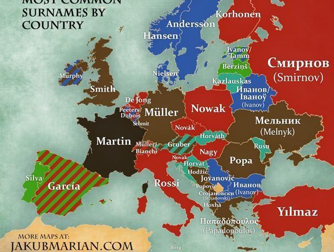 El mapa muestra los apellidos más comunes en Europa.