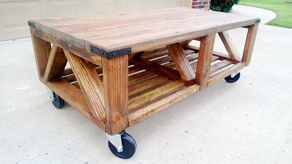 Rustic Industrial Coffee Table On Wheels By Thesavagestore On Etsy Get In My House