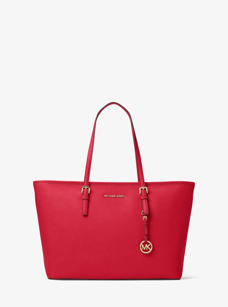 MICHAEL KORS Jet Set Travel Medium Saffiano Leather Top-Zip Tote. #michaelkors #bags #leather #hand bags #polyester #tote #lining #