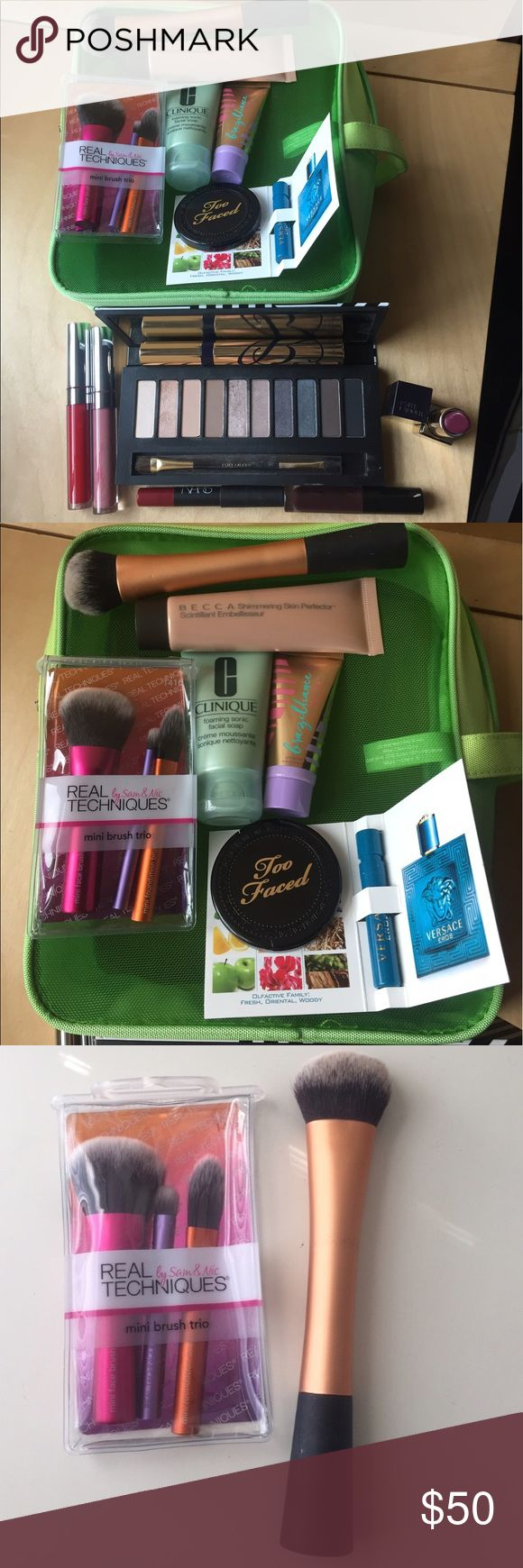 💋💋 HUGE MAKEUP BUNDLE Amazing bundle for the makeup lover including: Clinique mesh makeup bag and travel cleanser, Versace perfume sample, too faced mini chocolate soleil bronzer, tarte travel size tanner, 4 real techniques brushes, Estée Lauder eyeshadow palette and full size mascara, 2 color pop ultra matte lips (creeper and Bianca), mini Anastasia Beverly Hills lipgloss, mini NARS lip pencil in cruella and plum colored full size Estée Lauder lipstick. Over $250 value. All items…