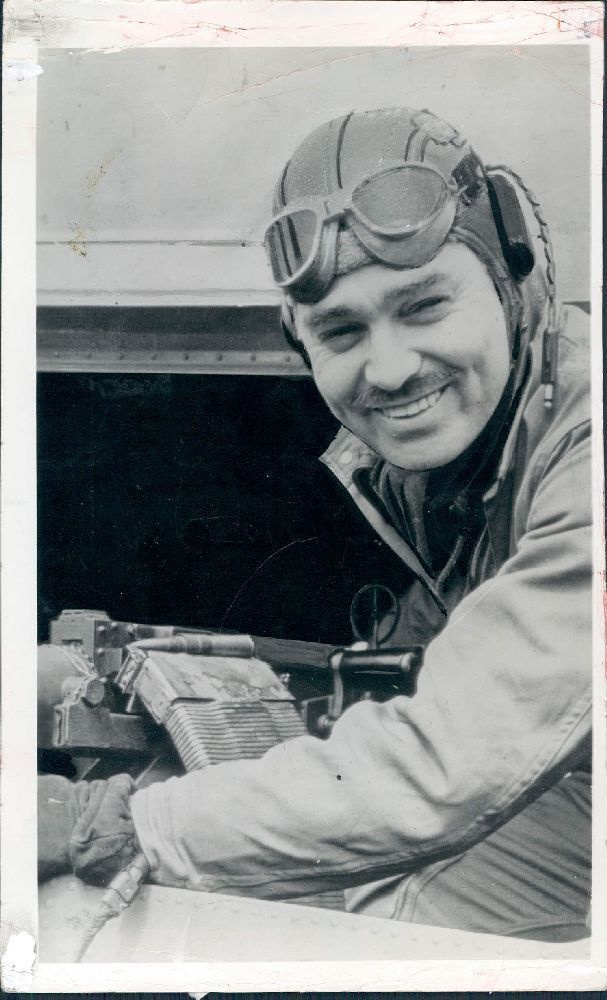 Clark Gable as an aerial gunner in World War II. After the tragic death of his wife, Carole Lombard, he enlisted in the U.S. Army Air Corps in 1942.