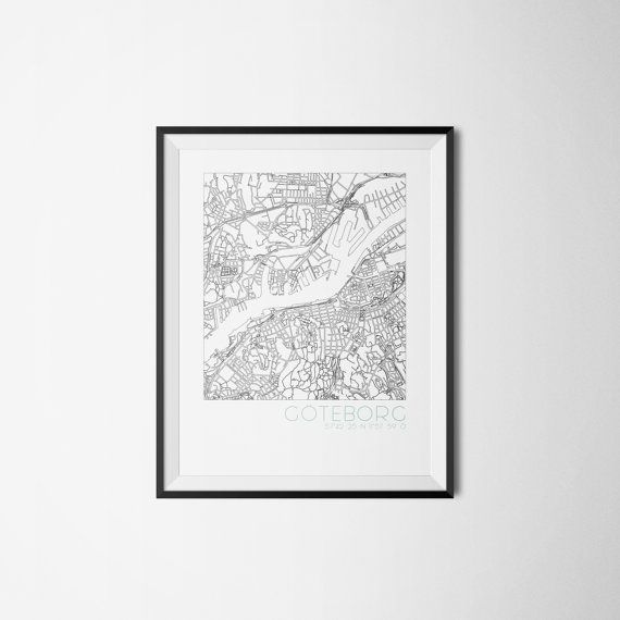 Göteborg Gothenburg city map Sweden Art print A3 by Itchyprints
