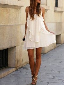 white dress, slip spaghetti strap dress, white ruffle dress, backless white dress - Crystalline