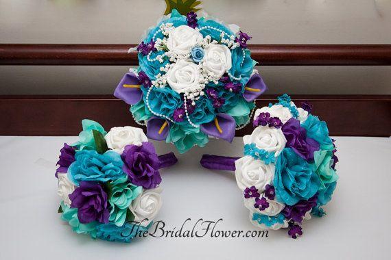 3 piece set - Round silk flower bridal wedding bouquet in purple, aqua teal (tiffany blue) and turquoise wedding set